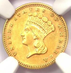 1887 INDIAN GOLD DOLLAR COIN G$1   CERTIFIED NGC AU DETAILS   NEAR MS UNC