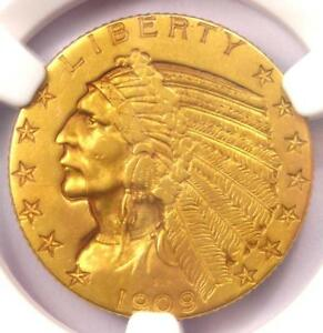 1909 O INDIAN GOLD HALF EAGLE $5 COIN   NGC AU DETAILS   NEW ORLEANS KEY DATE