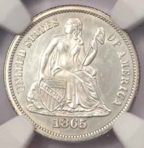 1865 SEATED LIBERTY DIME 10C   NGC UNCIRCULATED DETAILS  UNC MS     COIN