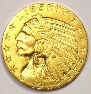 1913 INDIAN GOLD HALF EAGLE $5 COIN   EXCELLENT CONDITION   NICE LUSTER
