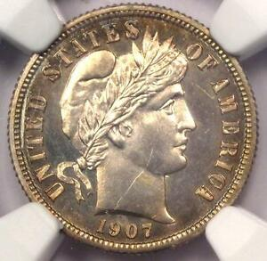 1907 PROOF BARBER DIME 10C COIN   NGC PROOF DETAILS  PF/PR     PROOF