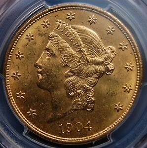 1904 GOLD LIBERTY $20 DOUBLE EAGLE PCGS MS 63 FLASHY NO SPOTS OR DISTRACTIONS