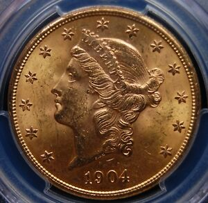 1904 S GOLD LIBERTY $20 DOUBLE EAGLE PCGS MS 63 FLASHY NO SPOTS OR DISTRACTIONS