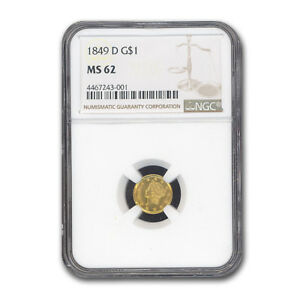 Click now to see the BUY IT NOW Price! 1849 D $1 LIBERTY HEAD GOLD MS 62 NGC   SKU186269