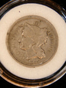 1865 THREE CENT NICKEL VF BRIGHT IN AIRTIGHT CAP 691U