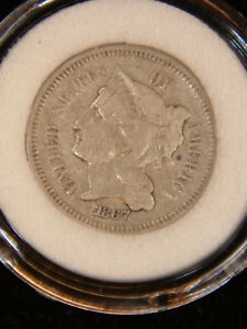 1867 THREE CENT NICKEL VF BRIGHT IN AIRTIGHT CAP 691W