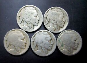 EARLY BUFFALO NICKEL 5 COIN MIXED DATE LOT  PROBLEM FREE