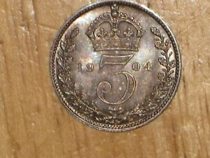GB ENGLAND 1904 SILVER MAUNDY 3 PENCE COIN UNC UNCIRCULATED