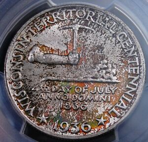 1936 WISCONSIN COMMEM HALF DOLLAR PCGS MS 66 FABULOUS COLORFUL KALEIDESCOPE