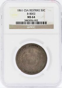 Click now to see the BUY IT NOW Price! 1861 LIBERTY SEATED HALF DOLLAR CSA RESTRIKE NGC MS64 B 8002 COIN JB583