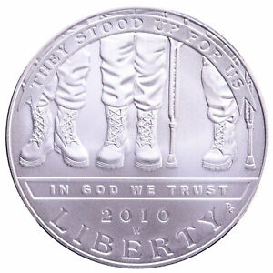 2010 W DISABLED VETERANS BU COMMEMORATIVE 90  SILVER DOLLAR COIN