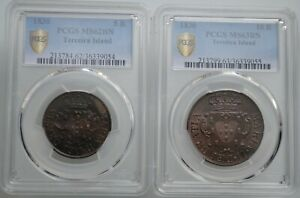 Click now to see the BUY IT NOW Price! TERCEIRA ISLAND 5 & 10 REIS PCGS MS62 63BN