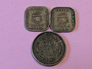 CEYLON LOT OF 3 BRITISH COINS SRI LANKA: 5 CENTS 1944 1945 & 50 CENTS 1943