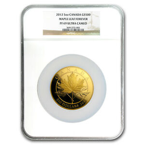 Click now to see the BUY IT NOW Price! 2012 CANADA 5 OZ PROOF GOLD $500 MAPLE LEAF FOREVER PF 69 NGC