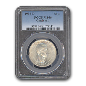 1936 D CINCINNATI HALF DOLLAR COMMEMEMORATIVE MS 66 PCGS   SKU187857