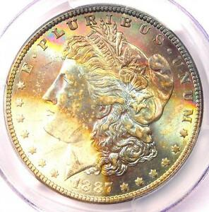 1887 TONED MORGAN SILVER DOLLAR $1   CERTIFIED PCGS MS64   NICE RAINBOW TONING