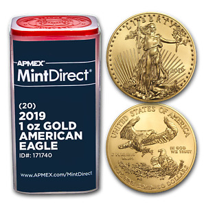 Click now to see the BUY IT NOW Price! 2019 1 OZ GOLD AMERICAN EAGLE  20 COIN MINTDIRECT TUBE    SKU171740