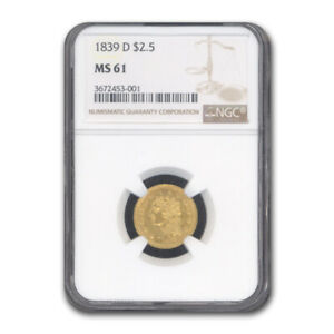 Click now to see the BUY IT NOW Price! 1839 D $2.50 GOLD CLASSIC HEAD QUARTER EAGLE MS 61 NGC   SKU188999