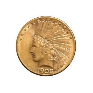 $10 GOLD INDIAN 1908 D AU WITH MOTTO