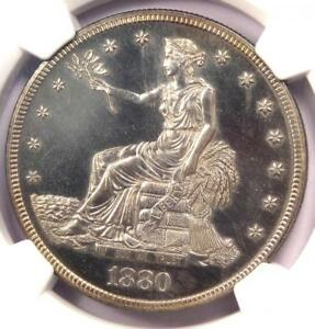 1880 PROOF TRADE SILVER DOLLAR T$1 COIN   CERTIFIED NGC PROOF DETAILS  PR/PF