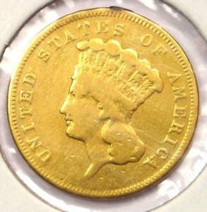 1857 S INDIAN THREE DOLLAR GOLD COIN  $3    VF DETAILS    DATE COIN