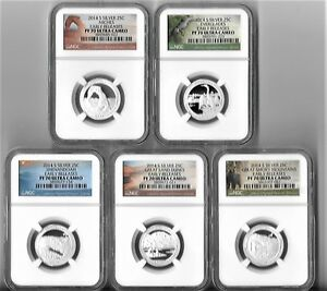 2014 S SILVER QUARTER PROOF SET NGC PF70 ER EARLY RELEASES NATIONAL PARKS ATB