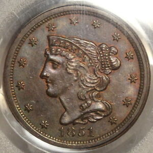 1851 BRAIDED HAIR HALF CENT CHOICE UNCIRCULATED PCGS/CAC MS 63BN SOME RED
