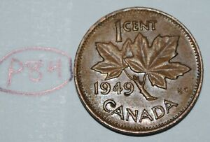 CANADA 1949 AB 1 CENT COPPER ONE CANADIAN PENNY COIN LOT P84
