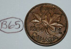 CANADA 1954 SF 1 CENT SHOULDER FOLD COPPER ONE CANADIAN PENNY COIN LOT B65