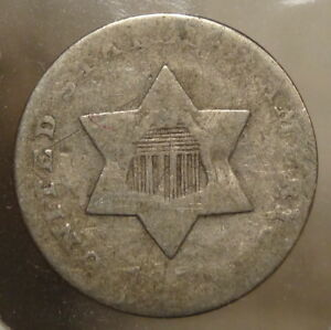 1851 THREE CENT SILVER ABOUT GOOD INEXPENSIVE TYPE COIN  1022 10