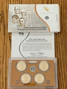 2015 US MINT PRESIDENTIAL $1 COIN PROOF SET W/BOX AND COA