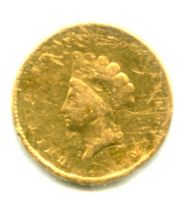 1855 ONE 1 DOLLAR GOLD PIECE COIN INDIAN PRINCESS SMALL HEAD TYPE 2 TYPE TWO