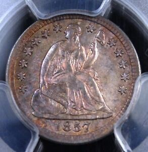 Click now to see the BUY IT NOW Price! 1857 WITH STARS SEATED HALF DIME PCGS MS62 GLORIOUS ORIGINAL TONE CHOICE LUSTER