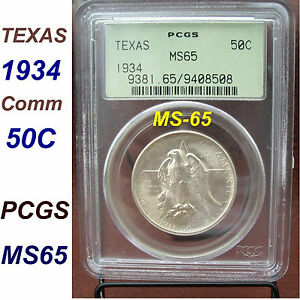 1934 TEXAS CENTENNIAL HALF DOLLAR PCGS MS 65 SILVER COMMEMORATIVE 50C   ZOOM PIX