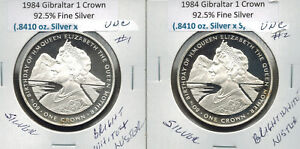 1984 GIBRALTER 1 CROWN UNC SILVER .8410 ASW SILVER BRIGHT WHITE & LUSTER UNC