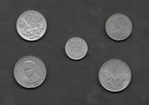 POLAND LOT OF 5 OLDER CIRCULATED COINS   EXCELLENT MIX