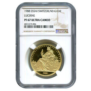 Click now to see the BUY IT NOW Price! SWITZERLAND 1 UNZE GOLD 1988 LUCERNE PF67 NGC ESSAI