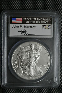 2015 W   FIRST DAY OF ISSUE   JOHN M. MERCANTI   $1 SILVER EAGLE PCGS SP 70