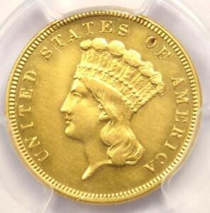 1882 THREE DOLLAR INDIAN GOLD COIN $3   CERTIFIED PCGS AU DETAILS    DATE