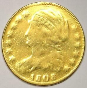1808 CAPPED BUST GOLD HALF EAGLE $5 COIN   EX JEWELRY COIN    DATE