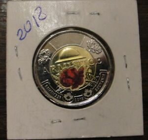 CANADA 2018 ARMISTICE POPPY COLOURED $2 TOONIE COIN FROM ROLL