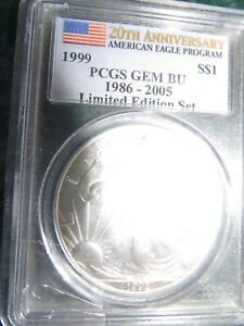 Click now to see the BUY IT NOW Price! SPRING SPECIAL PRICE $5 333.33 1999 PCGS CERTIFIED COIN GEM BU SILVER EAGLE