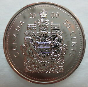 2000W CANADA 50 CENTS PROOF LIKE HALF DOLLAR COIN