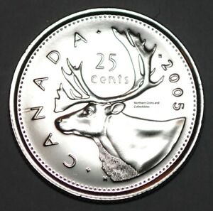 CANADA 2005 P 25 CENTS NICE UNC FROM ROLL   BU CANADIAN CARIBOU QUARTER