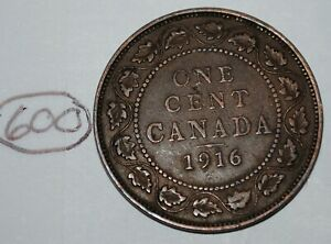 CANADA 1916 1 LARGE CENT CANADIAN ONE GEORGE V PENNY COIN LOT 600