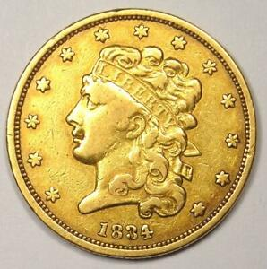 1834 CLASSIC GOLD HALF EAGLE $5 COIN   XF DETAILS  EF     TYPE COIN