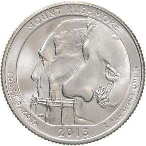 2013 D PARKS QUARTER ATB MOUNT RUSHMORE NATIONAL MEMORIAL BU CN CLAD US COIN