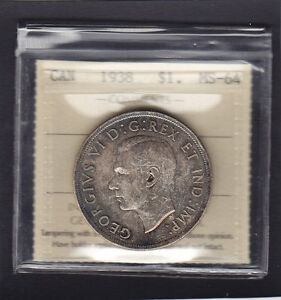 Click now to see the BUY IT NOW Price! 1938 CANADA $1 ICCS GRADED MINT STATE 64 .GREAT EXAMPLE