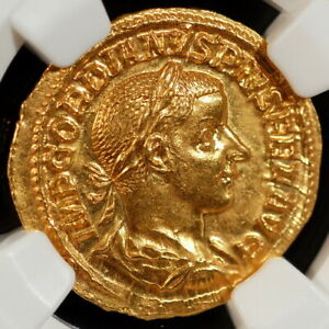 Click now to see the BUY IT NOW Price! ROMAN EMPIRE AD 238 244 GORDIAN III AV AUREUS NGC CH MS 5/5 5/5