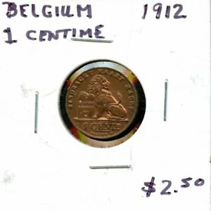 1912 BELGIUM ONE CENTIME COIN FH619